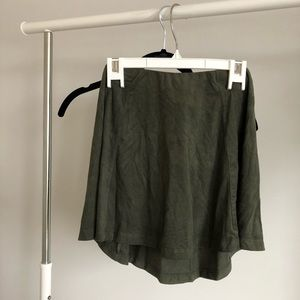 Olive Green High Waisted Faux Suede Skirt